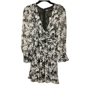 NWT Zara Floral Wrap Black Mini dress S